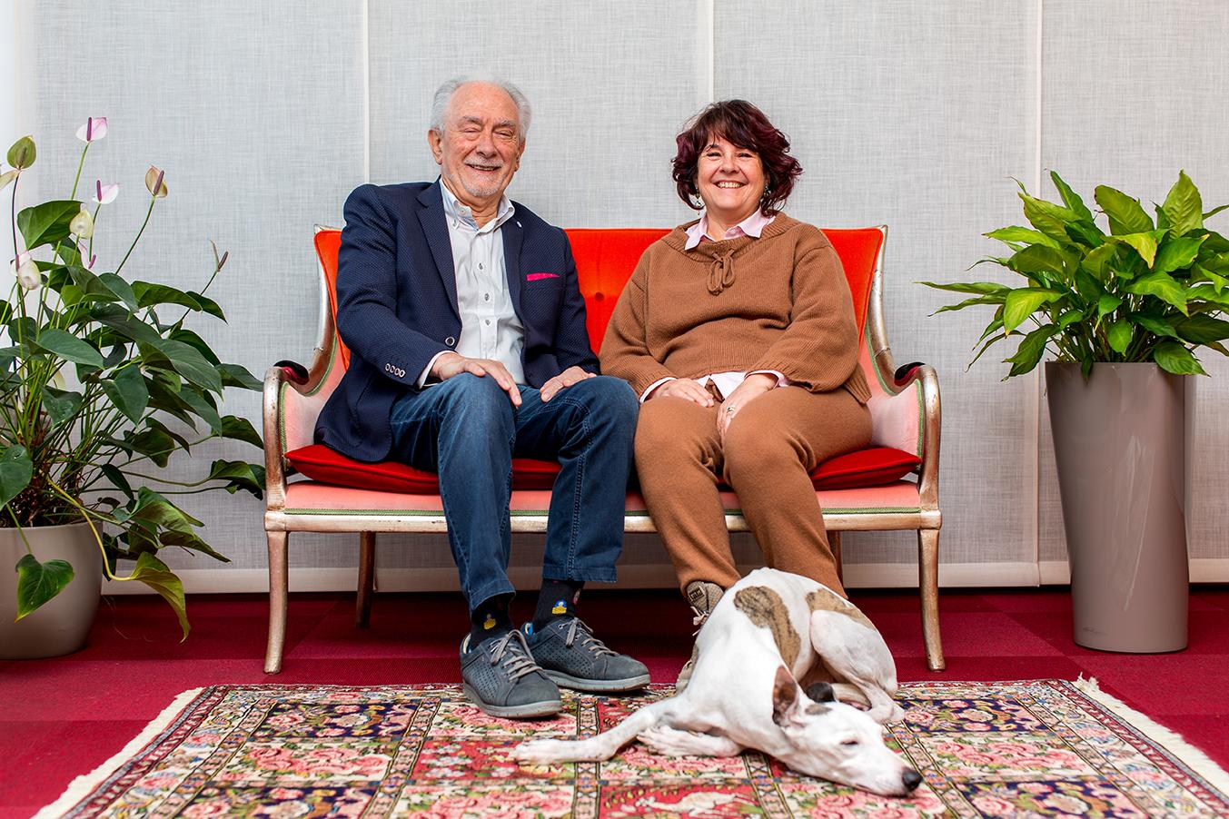 Bruno, il fondatore, e Marcella, l'amministratrice di Almacabio